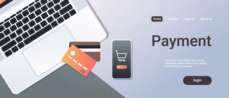 online shopping mobile application internet payment concept top angle view desktop smartphone laptop screen credit card office stuff horizontal copy space vector illustration Illustration