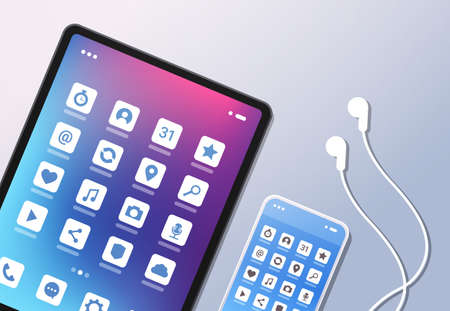 social media mobile application icons creative ui colorful screen top angle view desktop tablet smartphone earphones horizontal vector illustration Vectores
