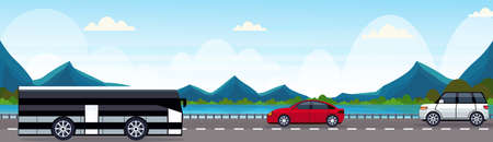 cars and passenger bus driving asphalt road near river mountain forest woods natural landscape background horizontal banner flat vector illustration Illustration