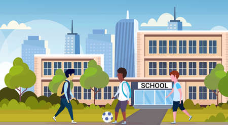 mix race schoolgirls playing football in front of school building primary schoolchildren having fun back to school concept cityscape background flat full length horizontal vector illustration Illustration