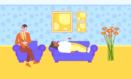 male doctor writing medical prescription for woman patient lying on couch modern home interior healthcare medicine concept flat full length horizontal vector illustration  イラスト・ベクター素材
