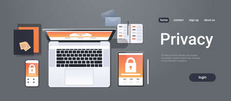 data protection internet security padlock privacy information safety concept top angle view desktop laptop tablet smartphone screen secured access office stuff horizontal copy space vector illustration