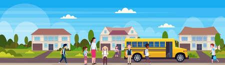 teacher with mix race pupils walking in yellow school bus pupils transport concept residential suburban street landscape background flat horizontal banner full length vector illustration 向量圖像