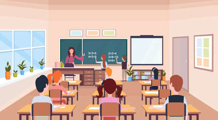 pupils solving math problem on chalkboard during lesson education concept modern school classroom interior male female cartoon characters horizontal flat vector illustration