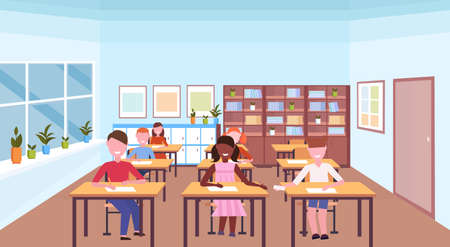 mix race pupils sitting desks and doing tasks during lesson education concept modern school classroom interior horizontal flat vector illustration