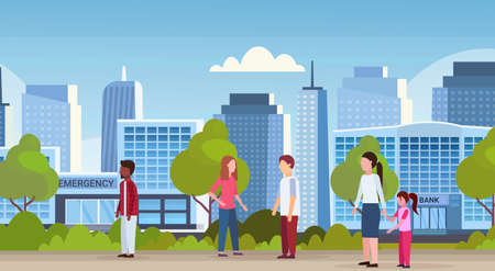 mix race people walking over modern hospital clinic and bank buildings financial and medical institution exterior urban city skyscrapers cityscape skyline horizontal banner vector illustration Ilustração