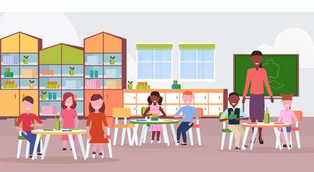 woman teacher teaching mix race boys and girls preschool modern kindergarten children classroom with chalkboard desks chairs kid room interior full length flat horizontal vector illustration