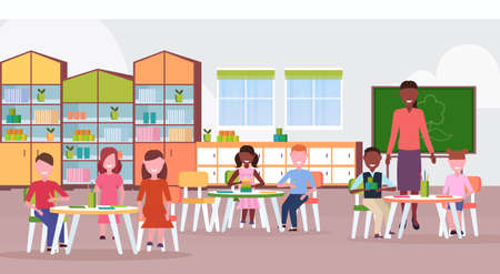 woman teacher teaching mix race boys and girls preschool modern kindergarten children classroom with chalkboard desks chairs kid room interior full length flat horizontal vector illustration