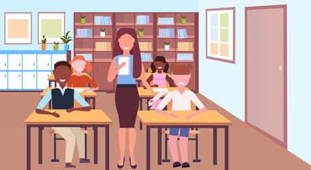 sad schoolgirl holding test with f grade bed result concept teacher with mix race pupils modern school classroom interior horizontal flat vector illustration
