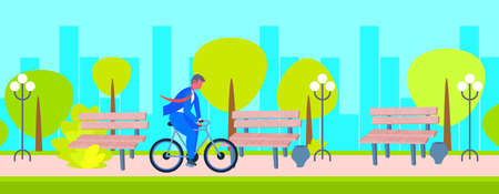 businessman wearing suit riding bicycle to work business man office worker cycling outdoor public urban park cityscape background flat horizontal full length vector illustration