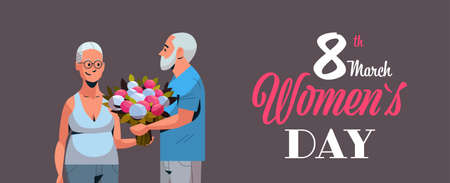 senior man presenting bouquet of flowers to elderly woman international happy womens day 8 march holiday concept couple in love horizontal portrait greeting card vector illustration