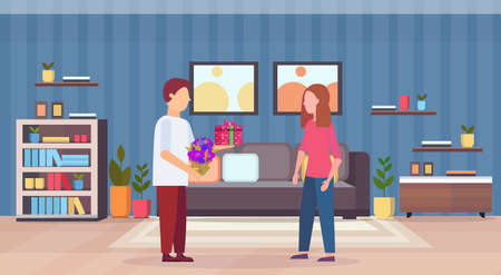man giving present gift box surprise for woman happy 8 march womens day concept husband making surprise to wife modern living room interior full length flat horizontal vector illustration Illustration