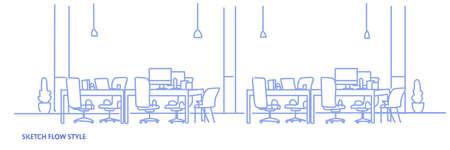 Kreativer Büroarbeitsplatz Co-Working Center Universitätscampus moderner Arbeitsplatz leer keine Leute skizzieren Flow Style horizontale Vektorillustration