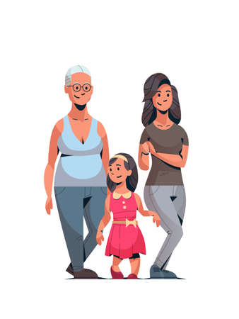 happy three generations family celebrating women international 8 march day concept female characters full length vertical vector illustration Ilustração