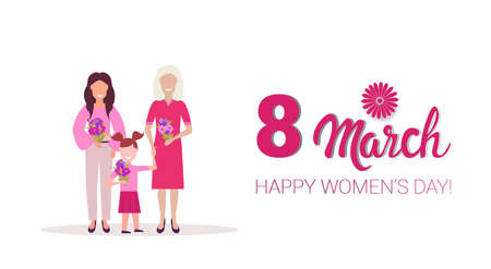 happy three generations women holding flowers international 8 march day celebrating concept female cartoon characters full length horizontal greeting card vector illustration