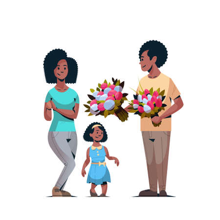 man giving bouquet of flowers to wife and daughter international womens day 8 march concept happy african american family celebrating holiday white background vector illustration