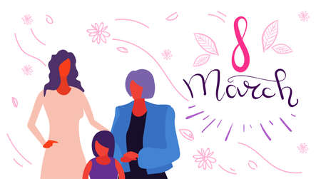 happy three generations women standing together international 8 march day celebrating concept female cartoon characters portrait horizontal greeting card vector illustration