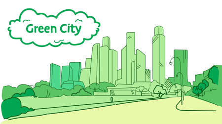 modern green silhouette eco city concept skyscraper cityscape background sketch flow style horizontal vector illustration Banque d'images - 124954520