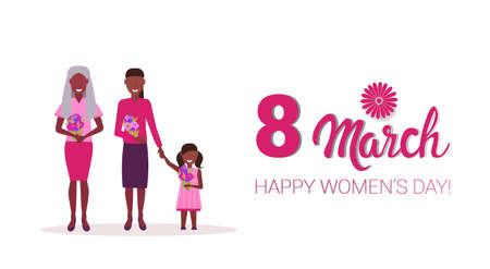happy three generations women holding flowers international 8 march day celebrating concept african american female cartoon characters full length horizontal greeting card vector illustration Ilustração