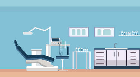 professional dentist chair and tools dental room or cabinet for tooth care modern clinic office interior flat horizontal vector illustration