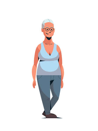happy elderly woman smiling casual lady standing pose female cartoon character full length flat white background vertical vector illustration