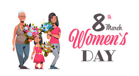 happy three generations women holding bouquet of flowers international 8 march day celebrating concept female cartoon characters full length horizontal greeting card vector illustration Ilustração