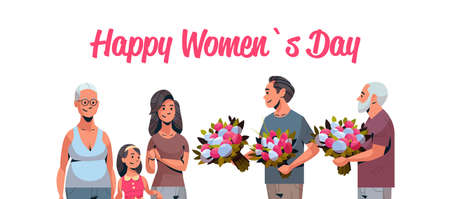 happy multi generation family congratulating women with international 8 march day concept men giving flowers male female characters portrait horizontal greeting card vector illustration