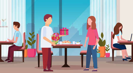 man giving present gift box surprise for woman happy 8 march womens day concept husband making surprise to wife modern restaurant interior full length flat horizontal vector illustration Illustration
