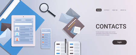 smartphone tablet screen and organizer with contact list business contacts concept top angle view workplace desktop with office stuff copy space horizontal vector illustration