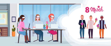 businesswomen wearing digital glasses virtual reality mix race businessmen with flowers headset vision international 8 march holiday concept office interior horizontal