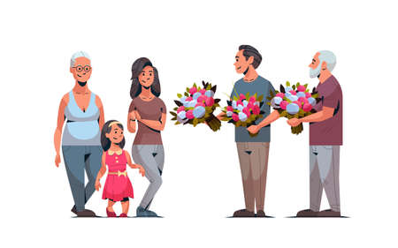 happy multi generation family congratulating women with international 8 march day concept men giving flowers male female characters full length horizontal vector illustration