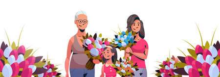 happy three generations women holding bouquet of tulip flowers international 8 march day celebrating concept female cartoon characters portrait horizontal banner vector illustration