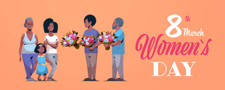 happy multi generation family congratulating women international 8 march day concept men giving flowers african american characters full length horizontal greeting card vector illustration Illustration