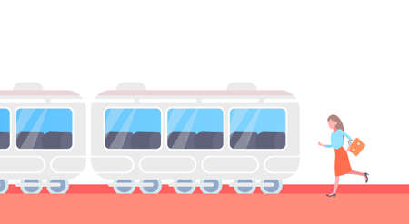 businesswoman running to catch train subway city public transport underground tram hurry up late concept female cartoon character full length horizontal vector illustration
