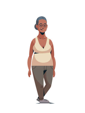 happy elderly woman smiling casual african american lady standing pose female cartoon character full length flat white background vertical vector illustration