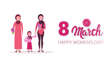 three generations arab women in hijab holding flowers international 8 march day celebrating concept muslim female characters full length horizontal greeting card vector illustration Ilustração