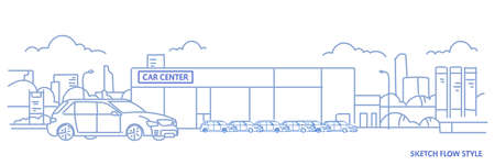 cars dealership center showroom building exterior with new modern vehicles cityscape background sketch flow style horizontal banner vector illustration Illustration