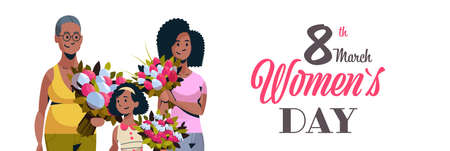 happy three generations african american women holding bouquet of flowers international 8 march day celebrating concept female characters portrait horizontal greeting card vector illustration