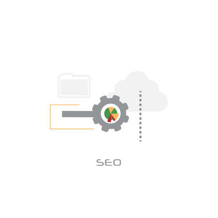 local seo monitoring search engine optimization concept flat white background vector illustration Illustration