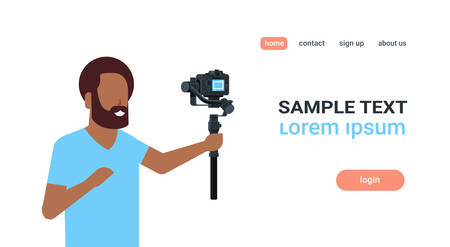 man blogger broadcasting live stream report shooting selfie video african guy recording himself using camera gimbal stabilizer blogging concept copy space horizontal vector illustration Imagens - 124926172