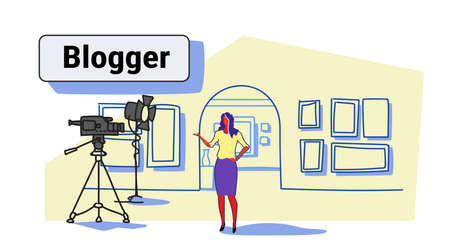 woman blogger recording video on camera female guide standing art gallery museum interior online excursion social media blog concept sketch flow style horizontal vector illustration