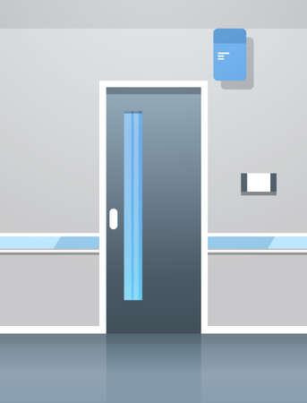 hospital corridor hall with door empty no people clinic interior flat vertical vector illustration