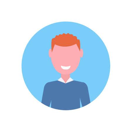 happy redhead boy face avatar little child male cartoon character portrait flat white background vector illustration