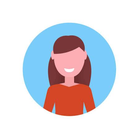 happy brown hair girl face avatar little child female cartoon character portrait flat white background vector illustration Illustration