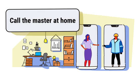 woman calling master at home using mobile app house renovation concept living room interior male female cartoon characters full length colorful sketch flow style horizontal vector illustration