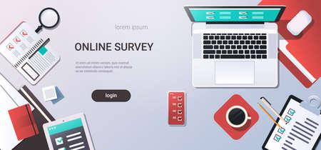 workplace desk online testing questionnaire form survey concept internet quiz laptop computer top angle view office stuff flat copy space horizontal vector illustration