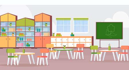 préscolaire jardin d'enfants moderne classe d'enfants avec des bureaux et des chaises de tableau meubles de décoration vide aucun peuple chambre d'enfant intérieur plat horizontal illustration vectorielle