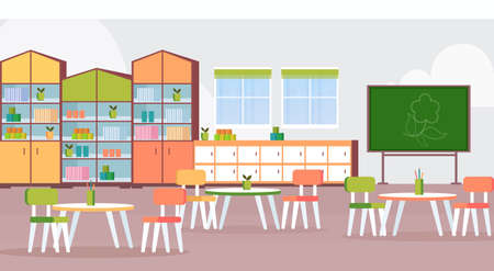 preschool modern kindergarten children classroom with chalkboard desks and chairs decoration furniture empty no people kid room interior flat horizontal vector illustration