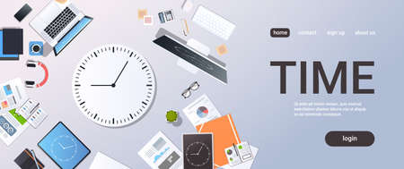 Time management deadline business timing concept top angle view desktop laptop smartphone tablet screen clock paper documents office stuff horizontal copy space vector illustration