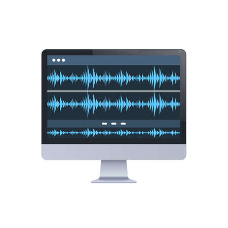 sound monitor audio waves oscillating blue light computer display digital technology record sound in studio concept white background vector illustration